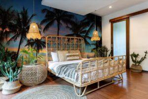 Schlafzimmer mit Fototapete Sonnenaufgang auf Hawaii